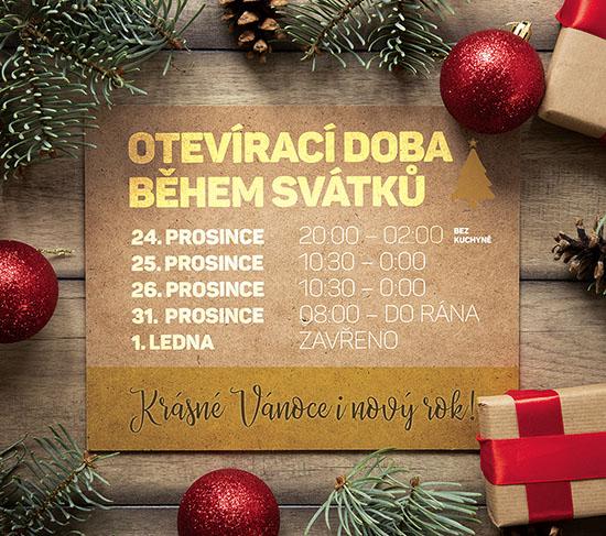 St.Patrick restaurace Pardubice má otevřeno i o vánočních svátcích 2019
